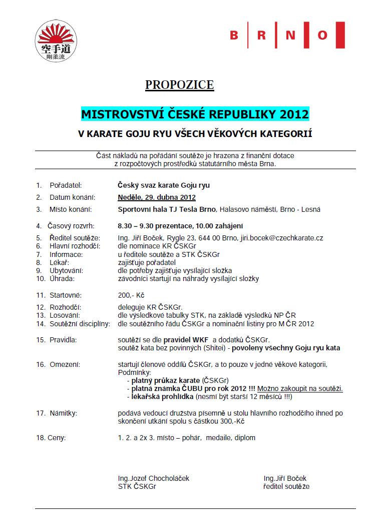 Propozice Mistrovství ČR 2012